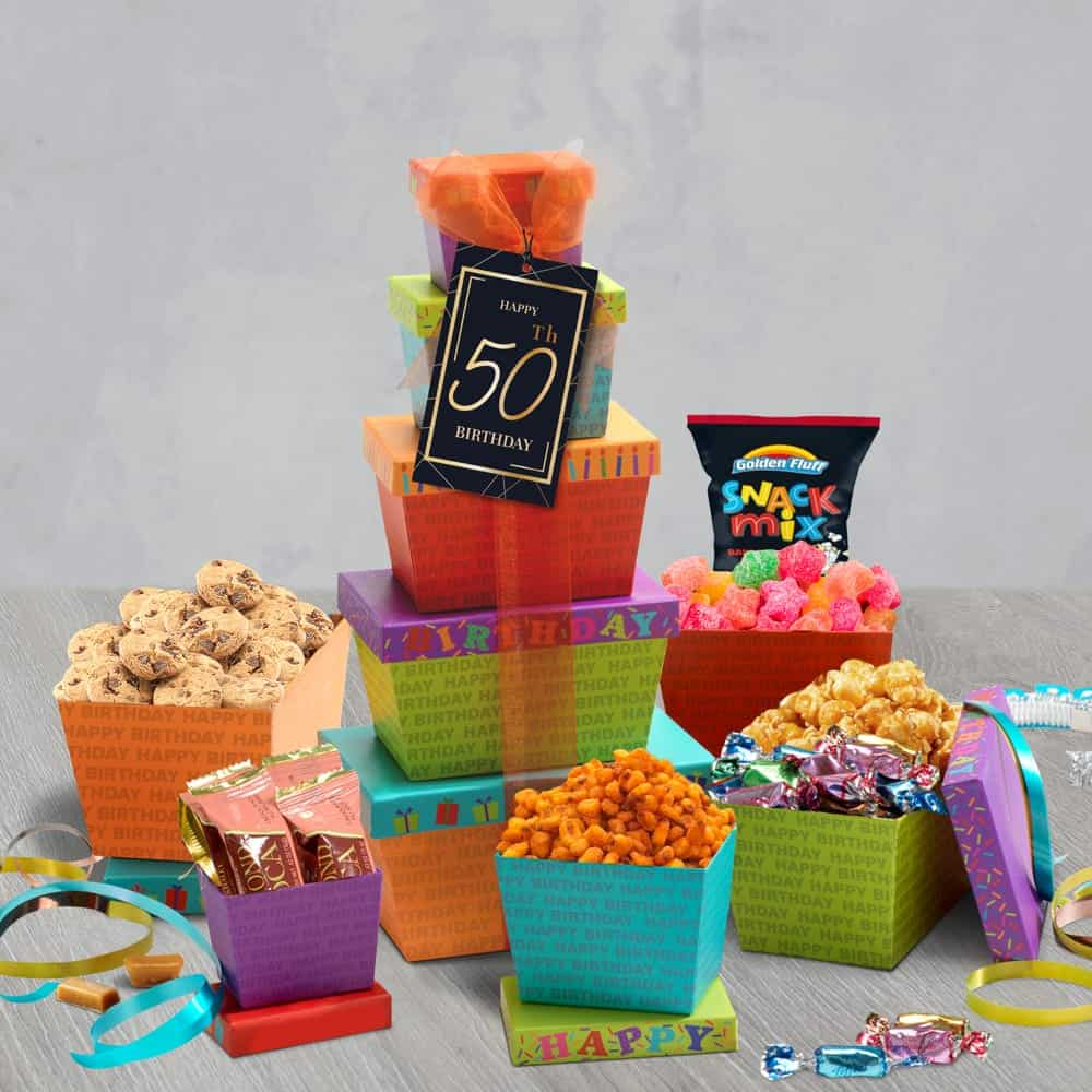 50th Happy Birthday Gift Tower