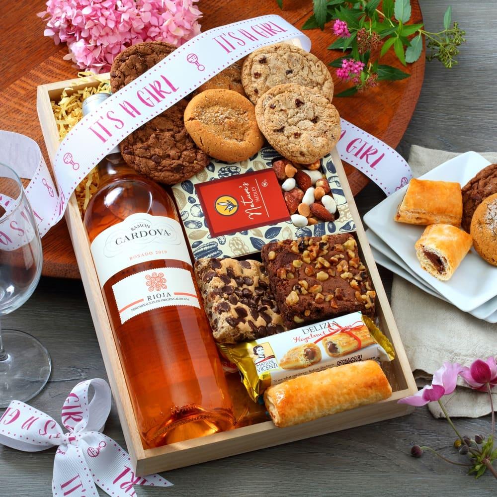 Baby Girl Wine Gift Tray