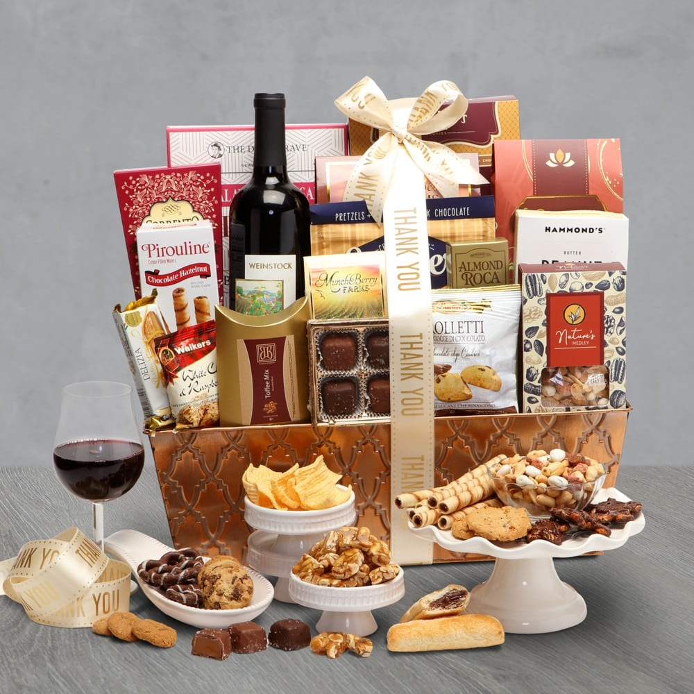 Deluxe Wine Thank You Basket