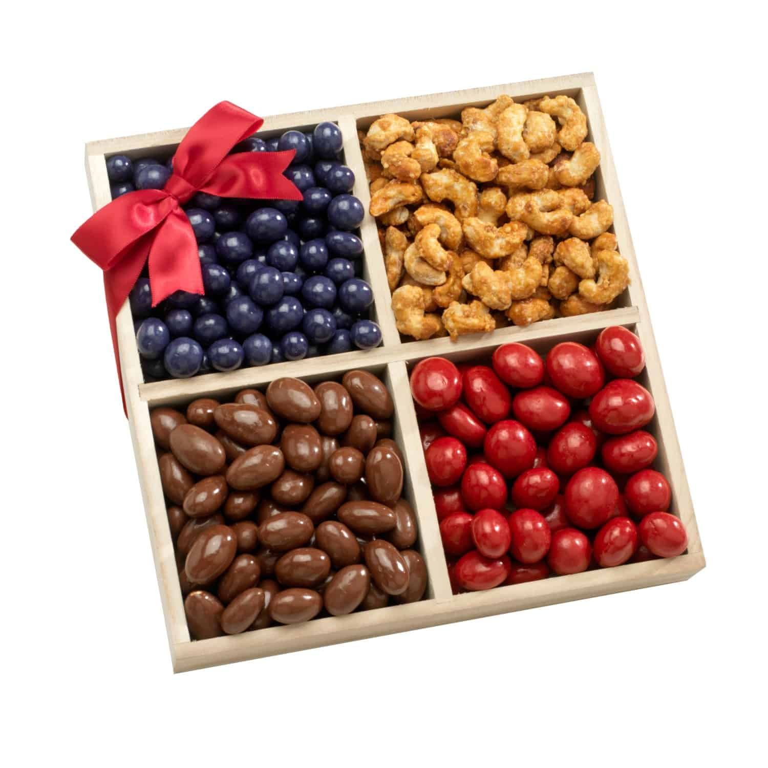 Four Sectional Gourmet Chocolate, Sweets and Nuts Gift Tray
