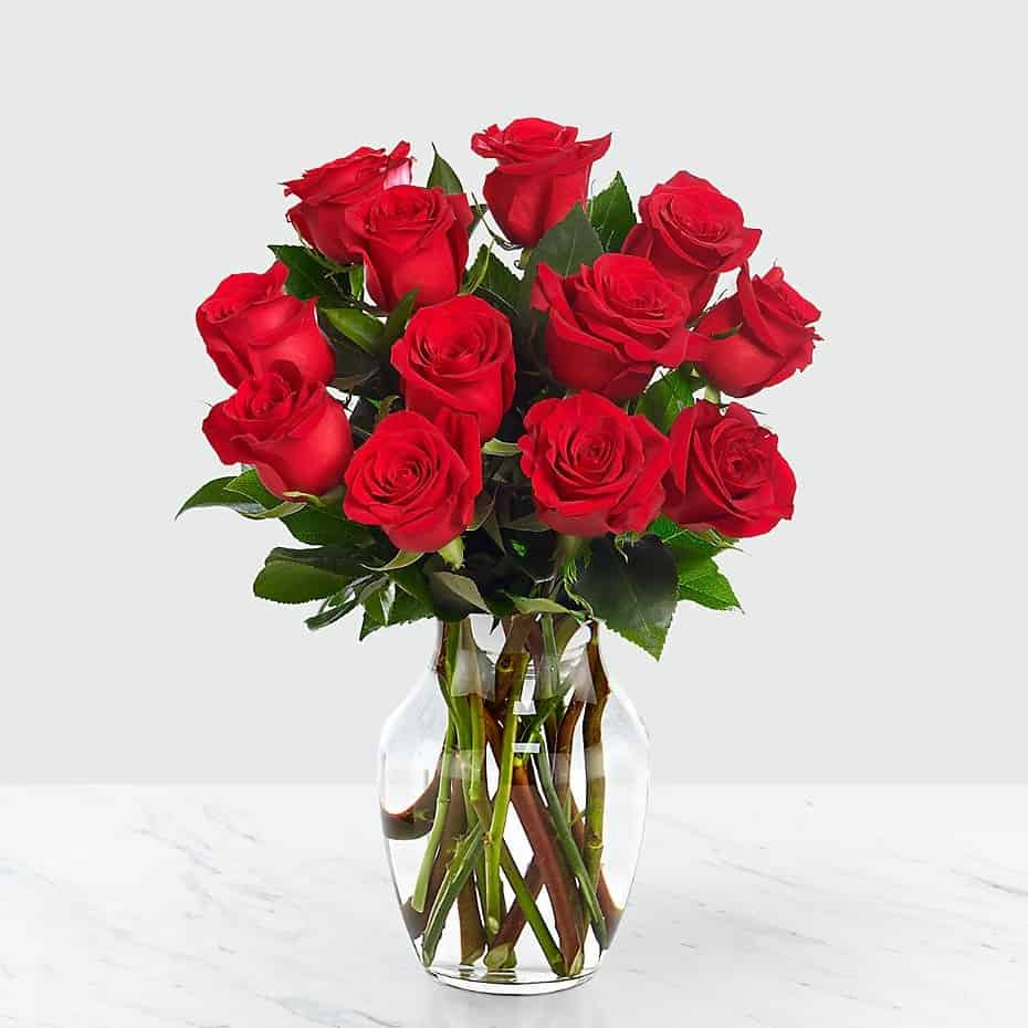 One Dozen Red Roses with vase