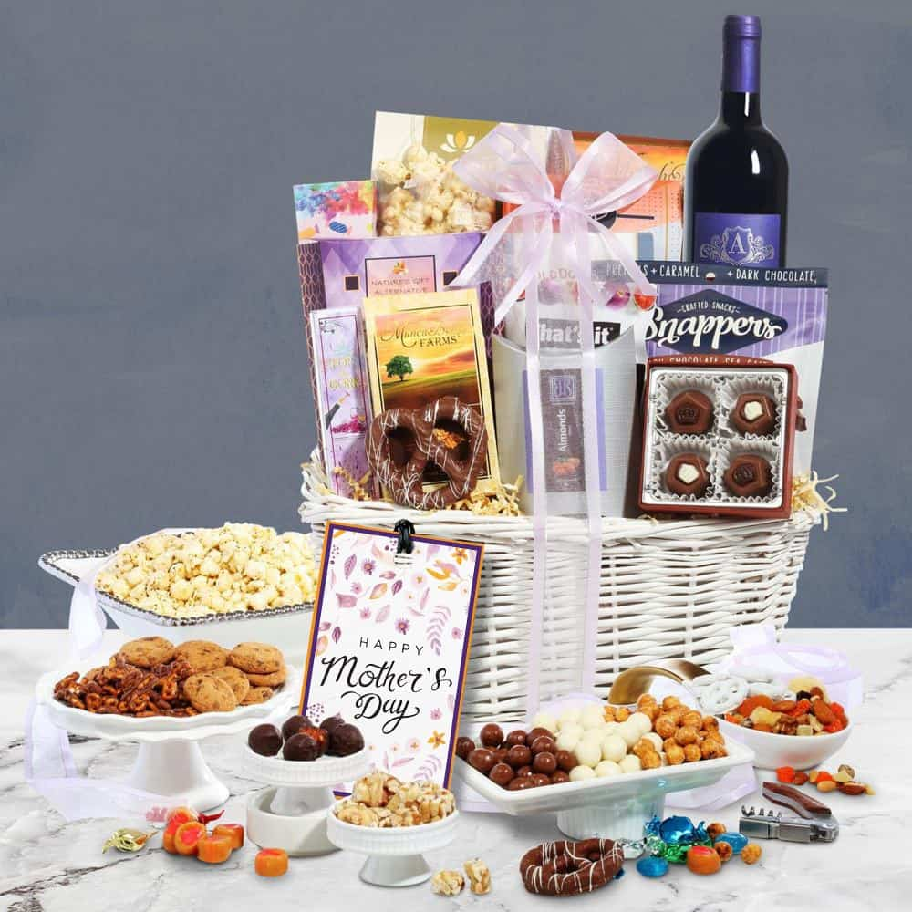 Classy Mothers Day Wine Basket