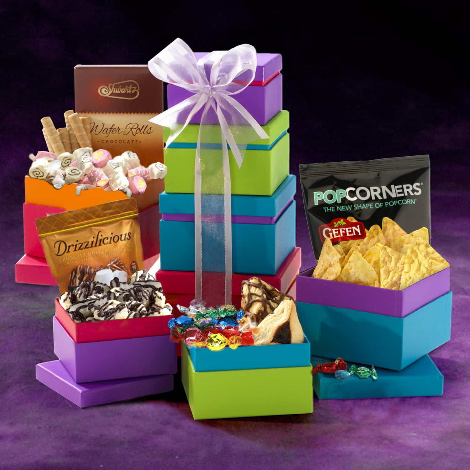Purple Pizazz Purim Gift Tower