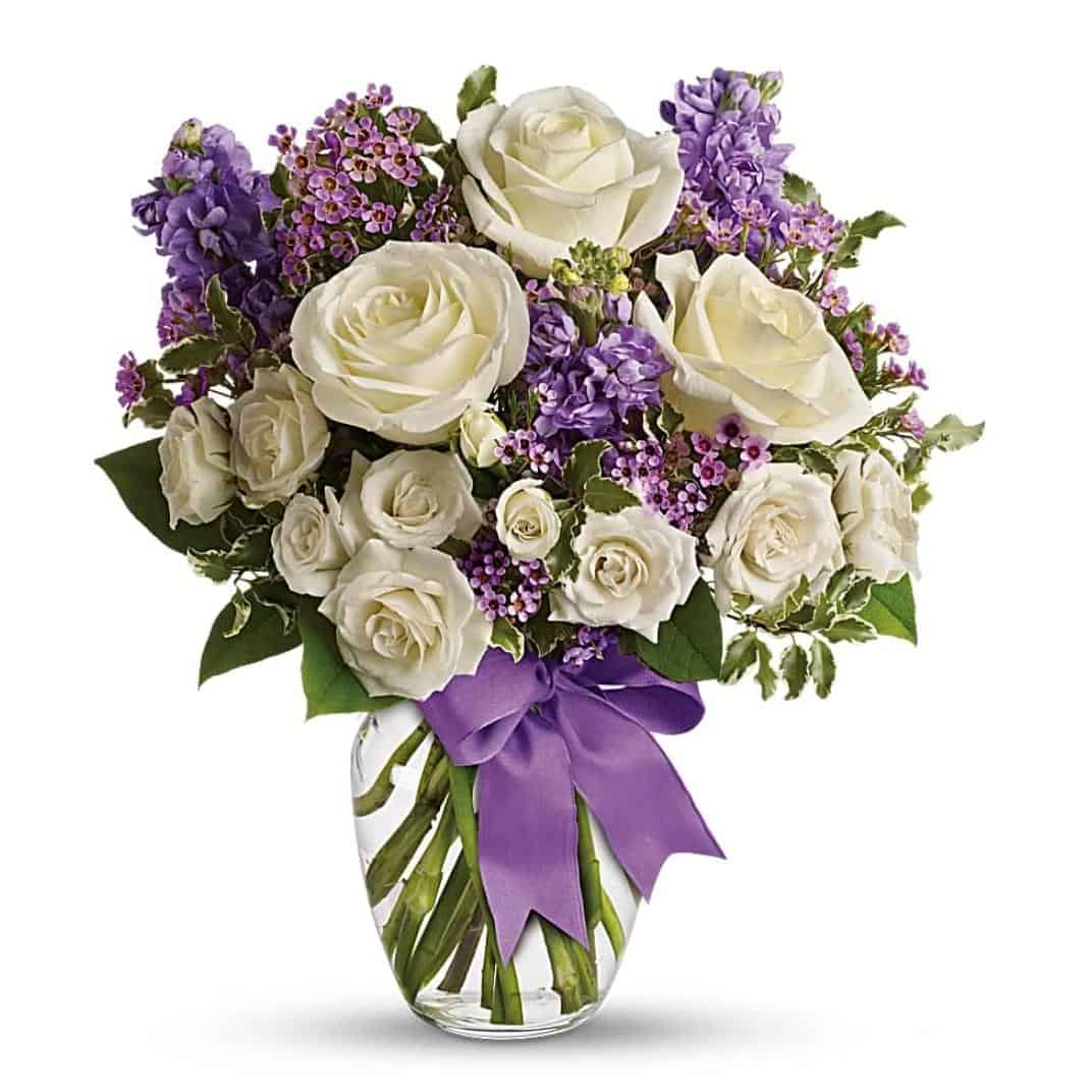 Purple White Flower Bouquet Flower Gifts