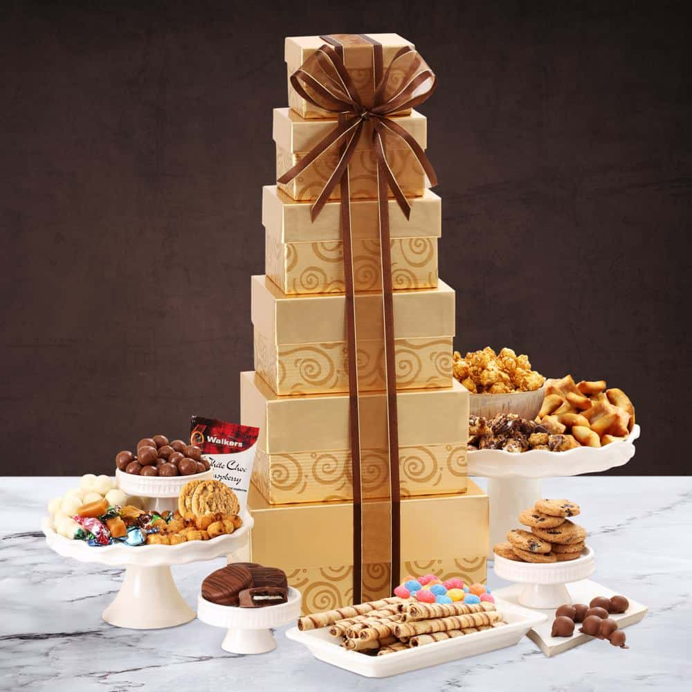 Glittering Gold Holiday Gift Tower