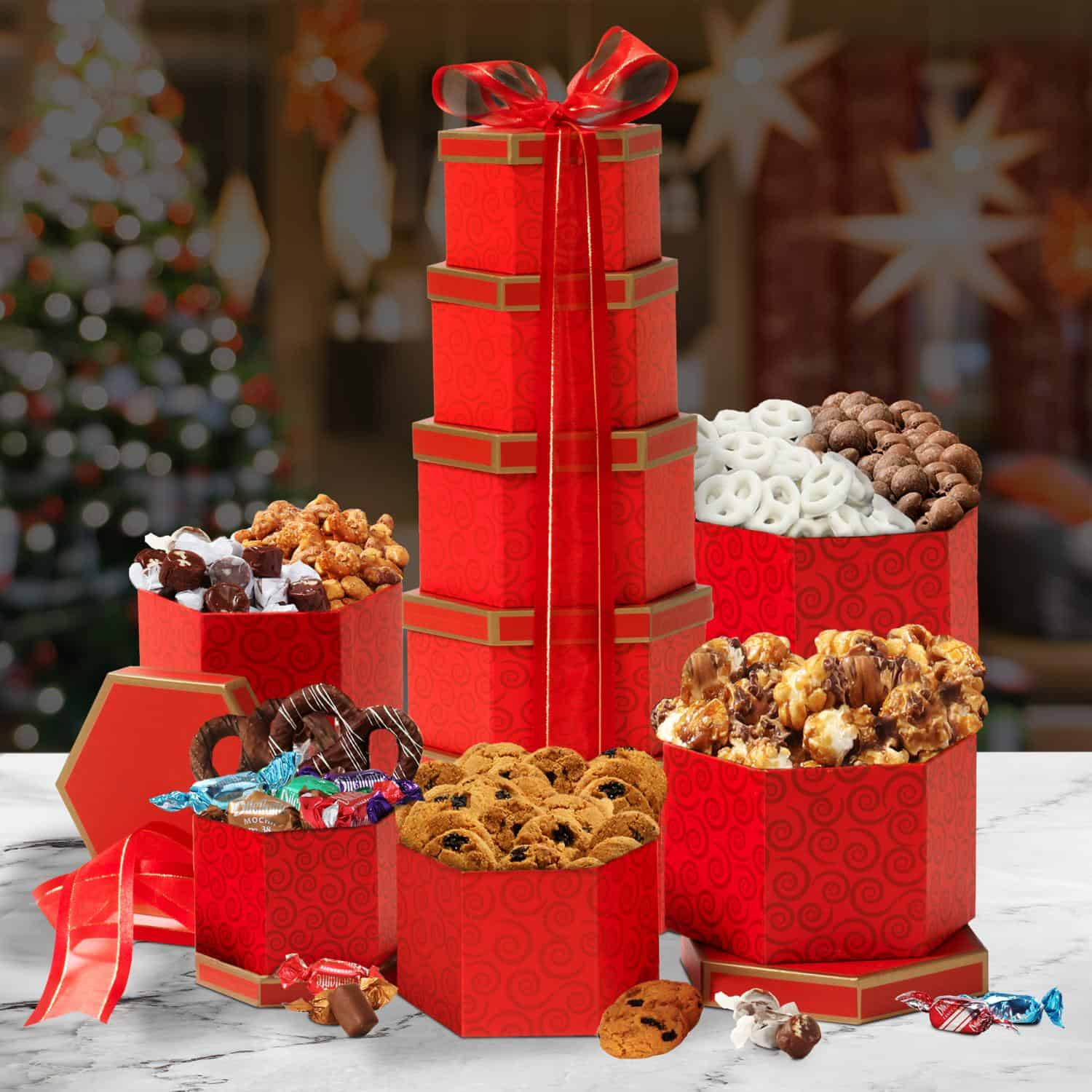 Ravishing in Red Holiday Gift Tower