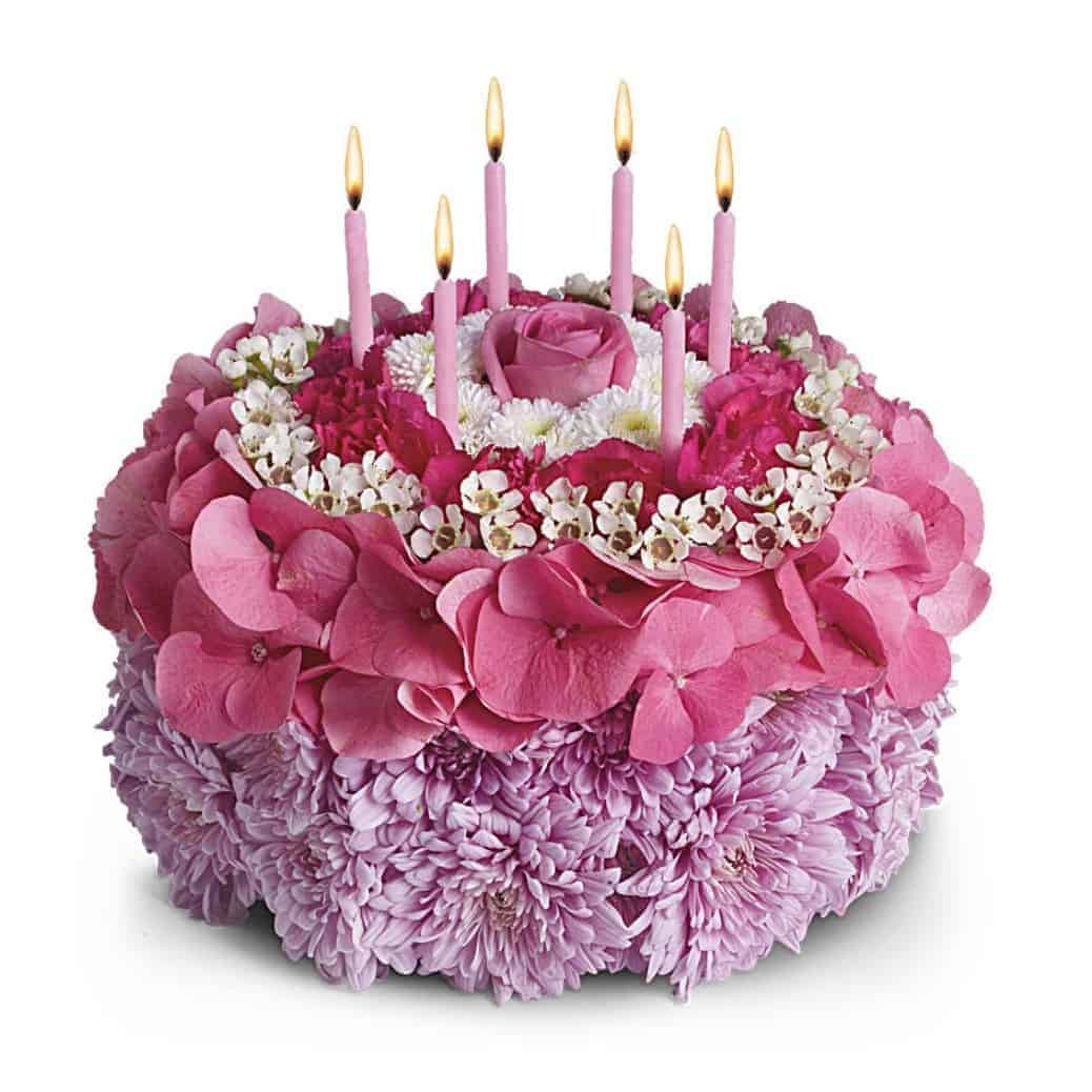 Flower Arrangement Shaped Like A Birthday Cake