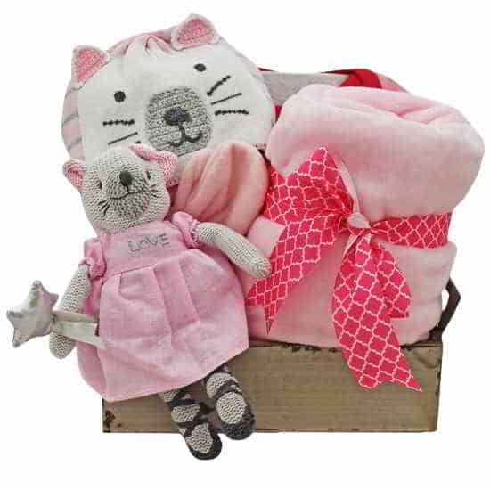 Pink Kitty Gift Basket