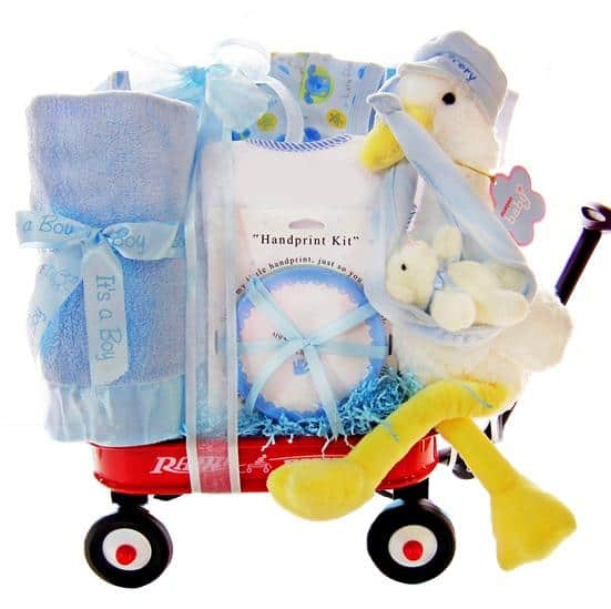 Red Wagon Baby Boy Gift Basket