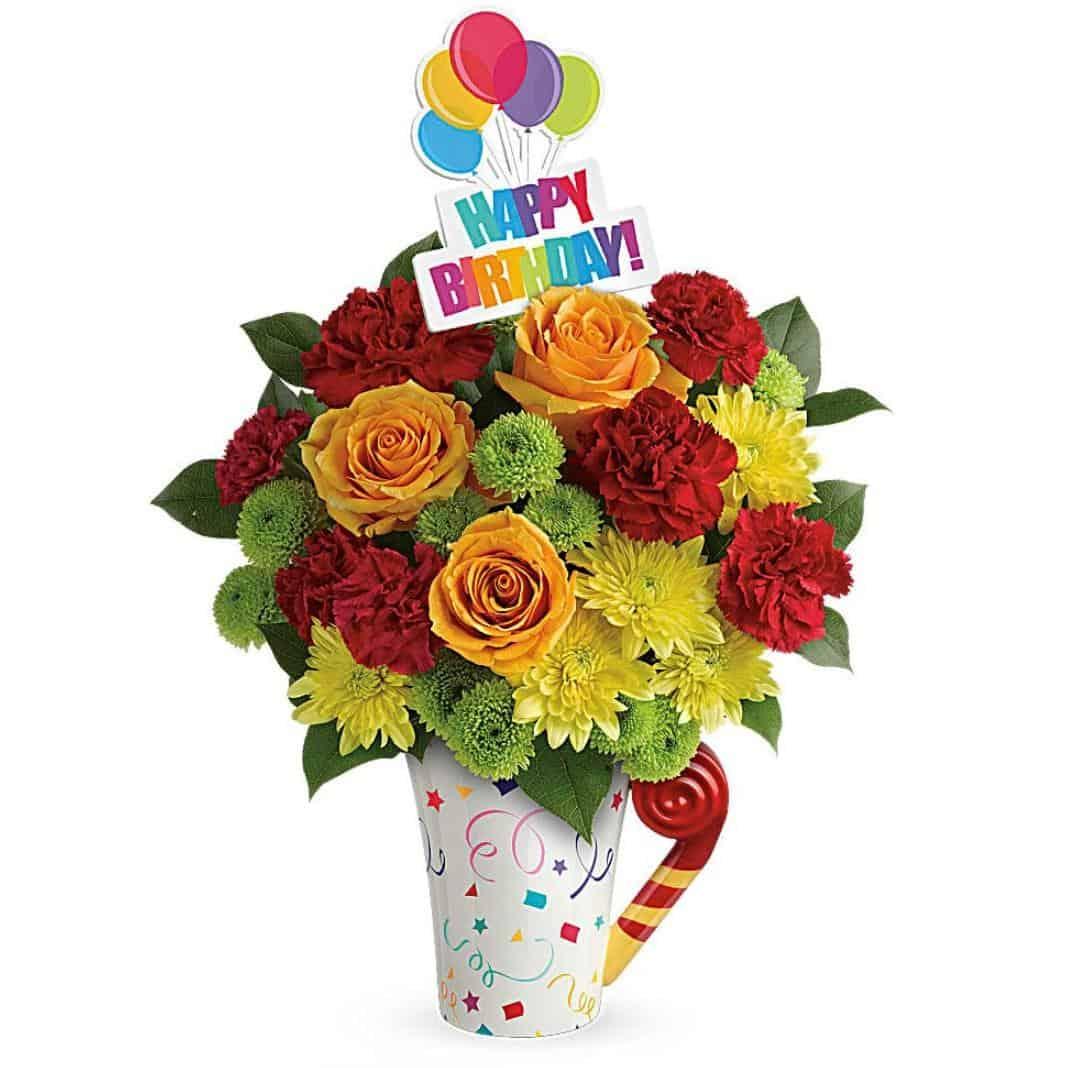 Happy Birthday Festive Bouquet By Broadwaybasketeers