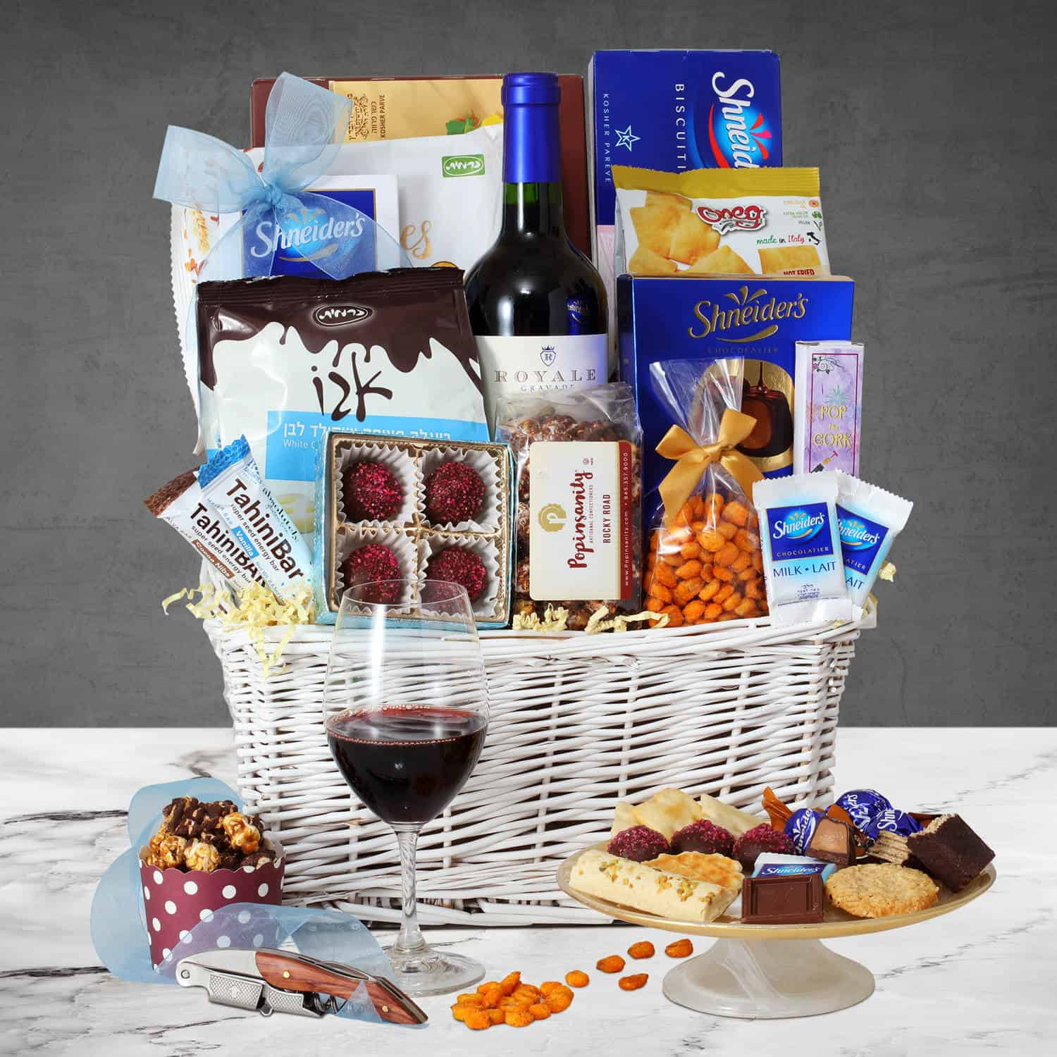 Purim Gift Basket with Wine