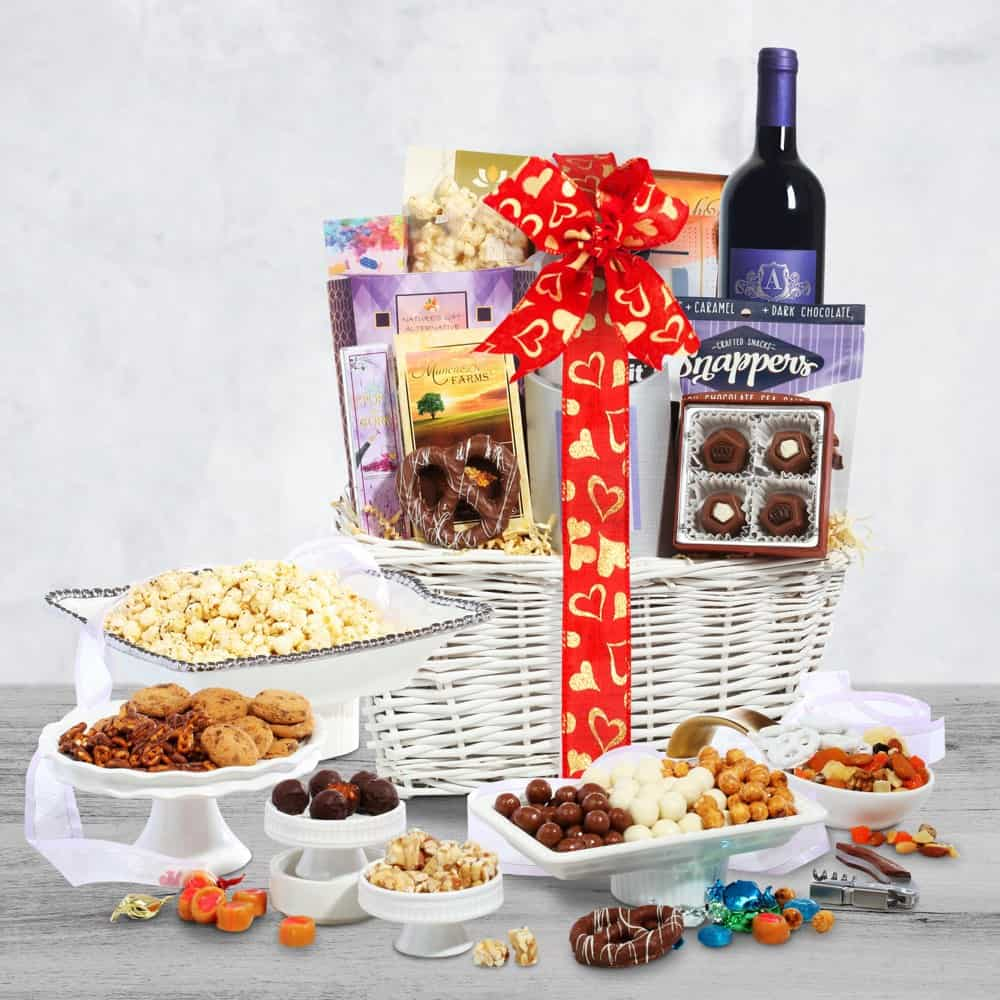 Valentines Day Wine Gift Basket