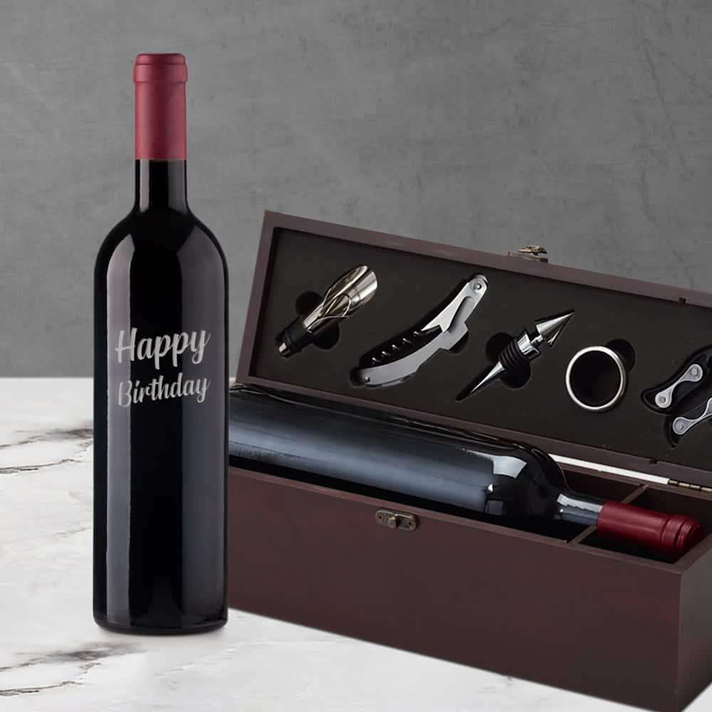Happy Birthday Engraved Wine