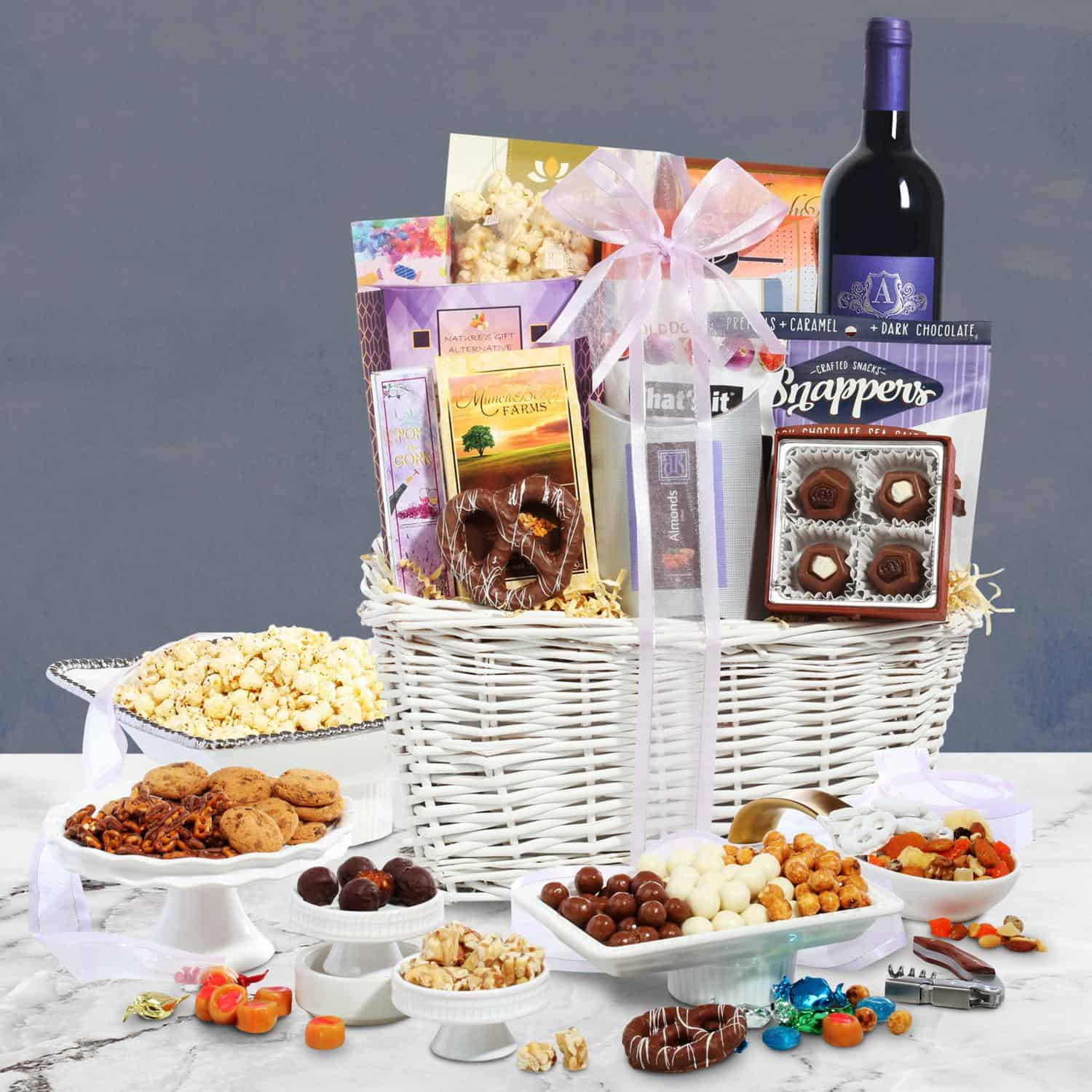 classy christmas red wine gift basket