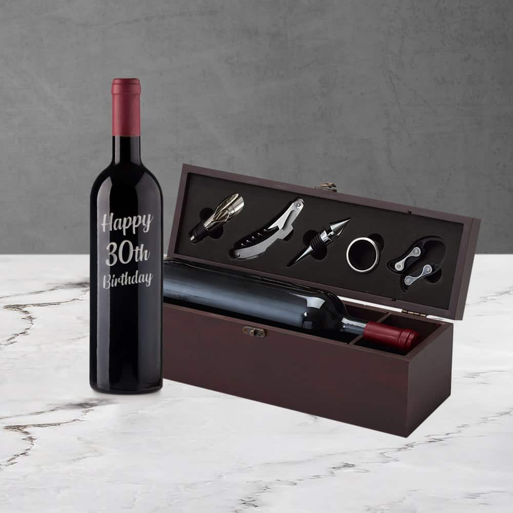 30th Birthday Engraved Wine Gift