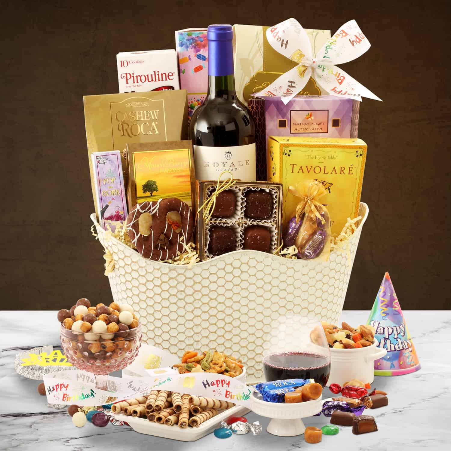 Blissful Birthday Wine Gift Basket By BroadwayBasketeers