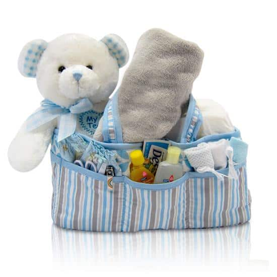 Baby's Teddy & Diaper Caddy - Boy