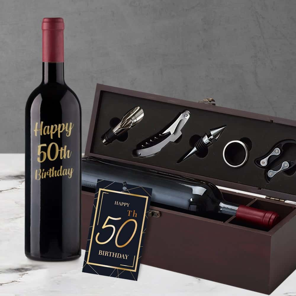 50th Birthday Engraved Wine Gift