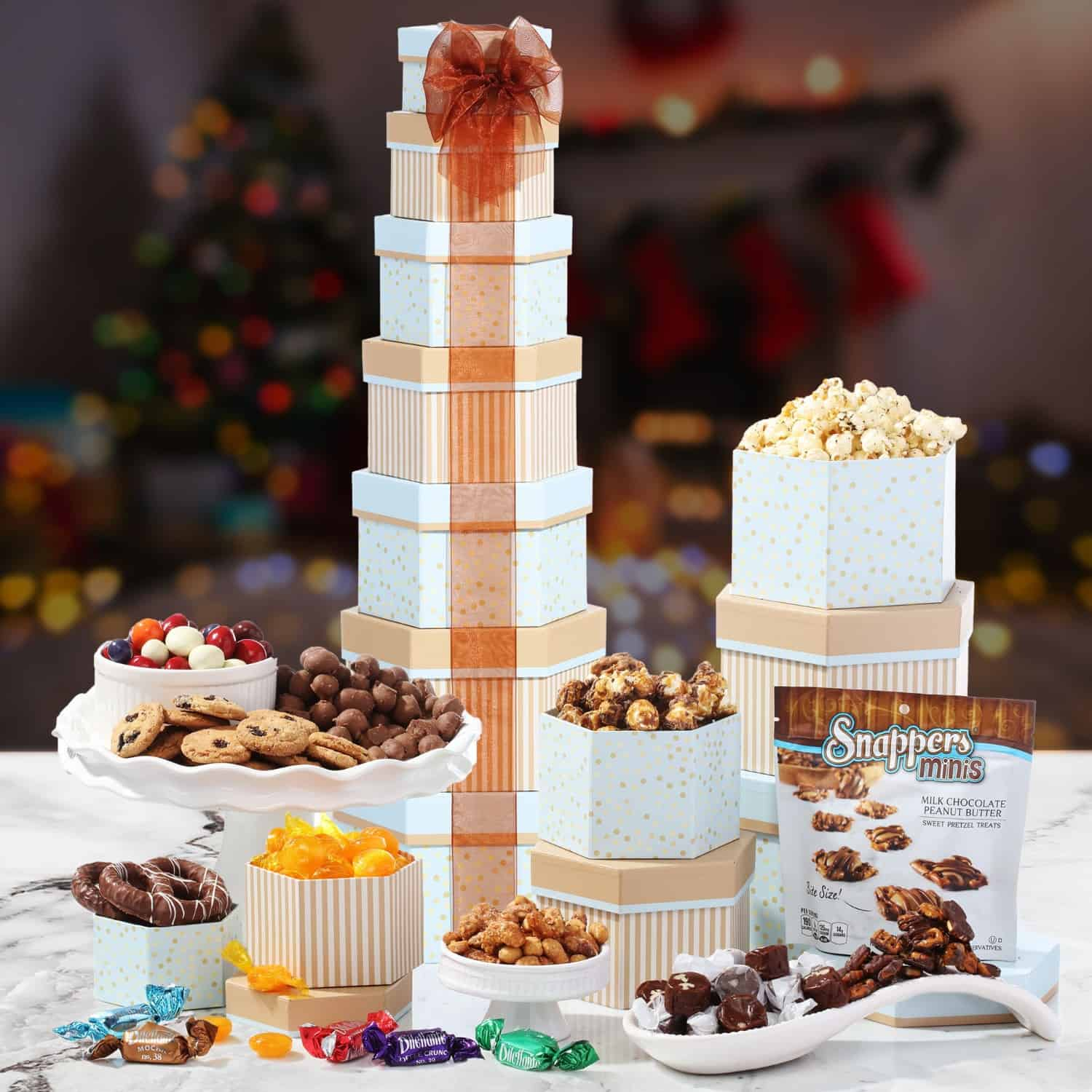 Tower of Treats for Christmas | Gourmet Basket Delivery