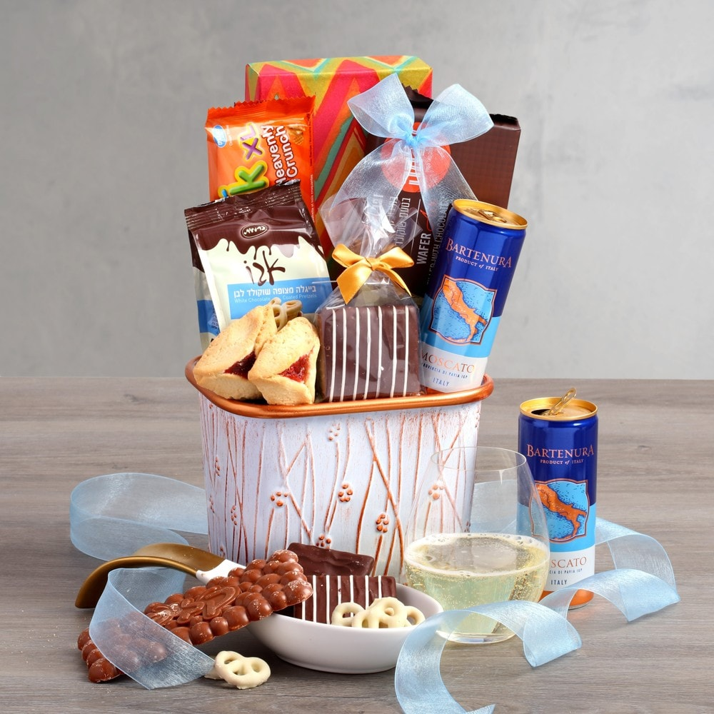 Hues of Blues Purim Moscato Basket