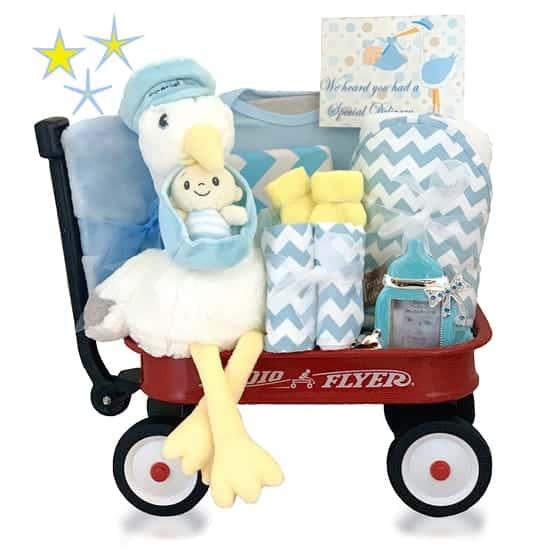 Red Wagon Baby Boy Gift Basket
