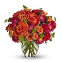 Orange, Red & Green Floral Arrangement