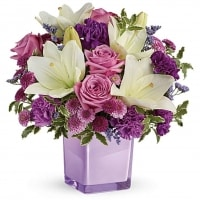 White & Purple Flower Arrangement - Floral Gifts