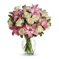 White Roses & Pink Lilies - Flower Gift