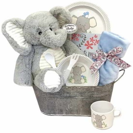 Baby Boy Blue Elephant Tin
