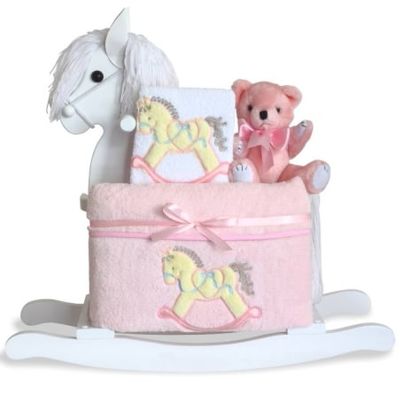 Baby Girl Classic Rocking Horse Gift Set