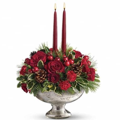 Glass Bowl Christmas Centerpiece Bouquet