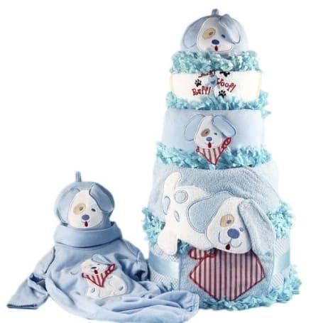 Baby Boy Puppy Diaper Cake Gift Set