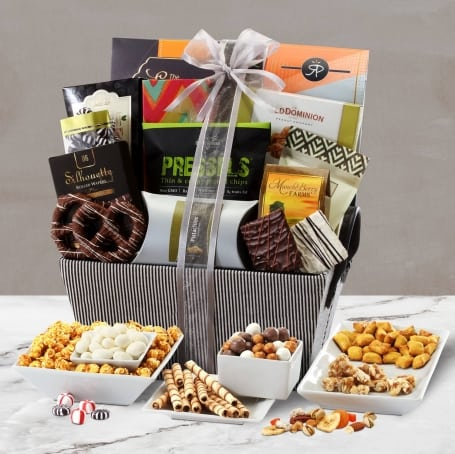 Deluxe Striped Gift Basket