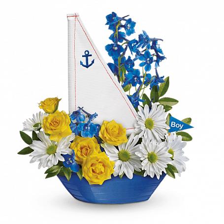 Baby Boy Flower Arrangement in a Blue Boat