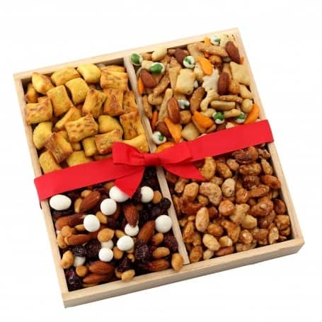 Wood Sectional Gourmet Nut Gift Tray