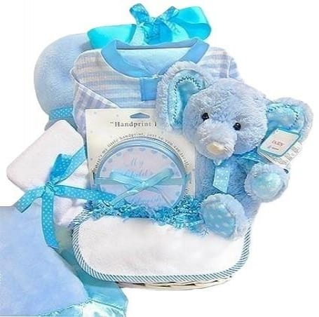 Minky Dots Blue Baby Gift Basket