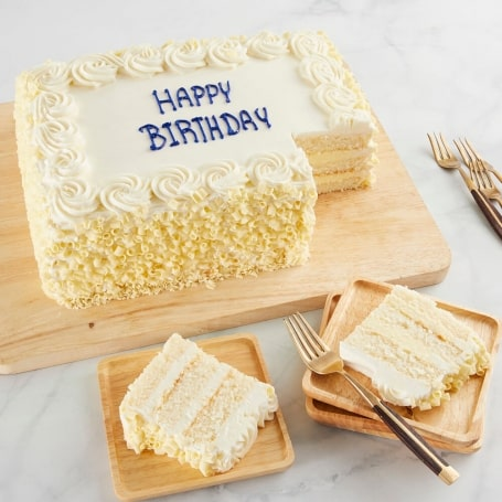 Vanilla Happy Birthday Sheet Cake