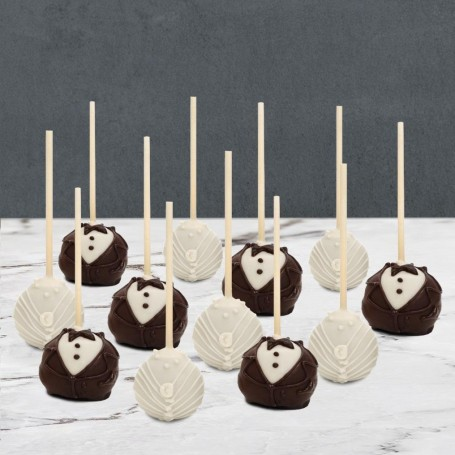 Black Tie White Pearls Wedding Cake Pops