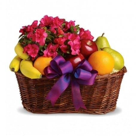 Fresh Fruits & Flowers Gift Basket