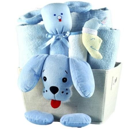 Baby Boy Puppy Plush Gift Basket