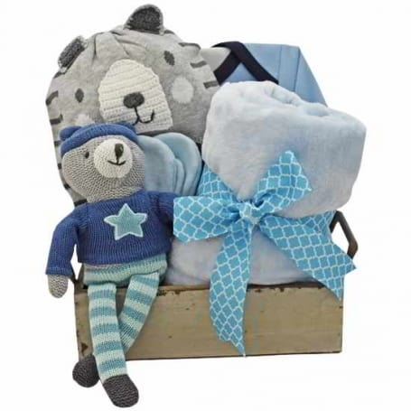 Dancing Boy Bear Baby Gift Basket