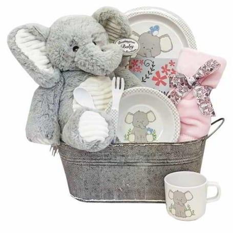 Baby Girl Pink Elephant Tin