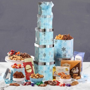 Winter Wonder Gourmet Gift Tower & New Years Gift Baskets Delivery 2019 | Unique New Year Day Gift Ideas