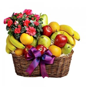 Large Fresh Fruits & Flowers Gift Basket