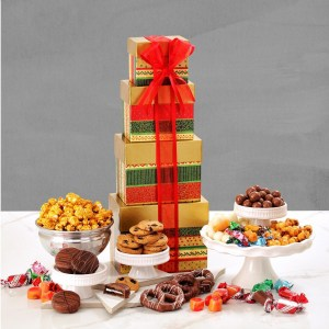 christmas gift tower christmas holiday gift basket