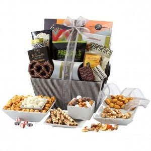 Treat yourself with a gourmet gift basket broadway basketeers deluxe striped gift basket solutioingenieria Images