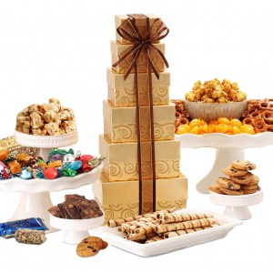 Gourmet Food Gift Boxes   Festive Gift Tower   Deluxe Sweets